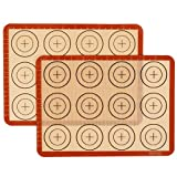 Amazon Brand - Eono Juego de 2 Tapete de Silicona para Hornear - Estera de Horno Antiadherente, Lámina de Horno para Macarons, Reutilizable, esistentes al Calor, con medidas - 29,2x21,6 cm