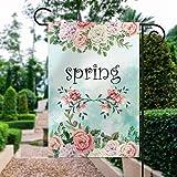Drapeau de jardin, décoration de cour, motif floral, rose, printemps, rose, décoration de jardin, double face, bannière de bienvenue 30,5 x 45,7 cm