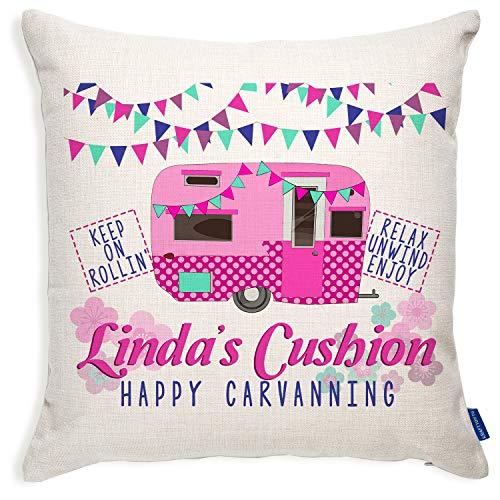 KRAFTYGIFTS Pink Caravan Cushion Cover Personalised Ladies Birthday Gift KC39