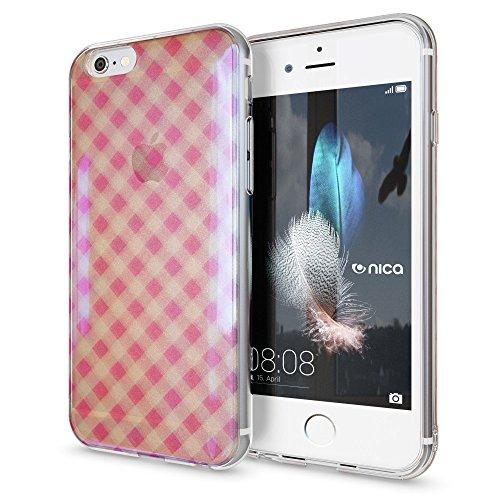 NALIA Funda Compatible con iPhone 6 6S, 3D Motivo Silicona Carcasa Ultra-Fina Transparente Purpurina Case, Cover Protectora Bumper Cubierta Cobertura Delgado Movil Estuche, Designs:Pink Plaid
