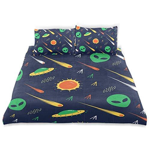 Juego de Funda nórdica Alien UFO Comet Invasion Star Wars Juego de Cama Decorativo de 3 Piezas con 2 Fundas de Almohada Fácil Cuidado Anti-alérgico Suave Suave