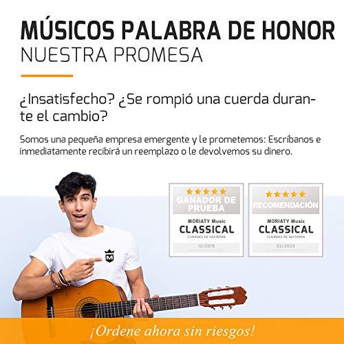 """MORIATY® Juego cuerdas para guitarra clásica, española, flamenca y guitarra acústica hechas de nylon de primera calidad + GRATIS: 4 púas + adicional cuerda »MI« + e-book """"Escuela de Guitarra"""""""