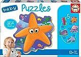 Educa- Animales del Mar Pack de 5 Puzzles, Multicolor (18058)