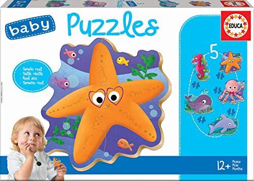 Educa Borrás- Baby Infantil Animales del mar, 5 Puzzles pro