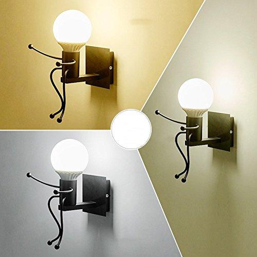 Iro forgé moderne créative Peinture Salon Chambre à coucher mur de chevet Lampe lumière, Art Villain Couloirs Chambre Enfants Wall Lamp,Tête simple Black,5 Watts éclairage réglable 3-couleurs