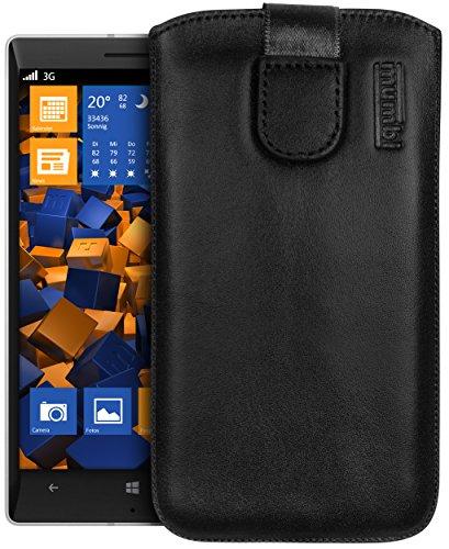 mumbi Echt Ledertasche kompatibel mit Nokia Lumia 930 Hülle Leder Tasche Case Wallet, schwarz