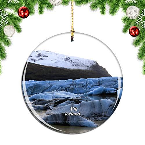Weekino Iceland Myrdalsjokull Glacier Vik Christmas Xmas Tree Ornament Decoration Hanging Pendant Decor City Travel Souvenir Collection Double Sided Porcelain 2.85 Inch