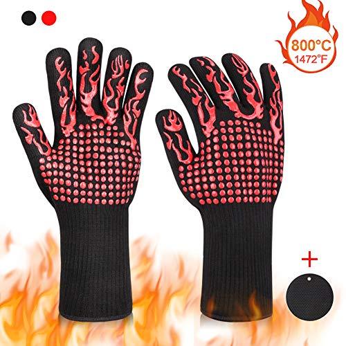 Braoses Grillhandschuhe, Ofenhandschuhe Hitzebeständige bis zu 800 °C, Universalgröße Kochhandschuhe Backhandschuhe Mit Topf Untersetzer, rutschfeste Grill Handschuhe für BBQ Kochen Backofen(Rot)