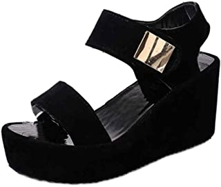 Inlefen Female Flat Hollow Ankle Strap Breathable Casual Thicken Bottom Sandals