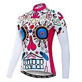 Weimostar Ciclismo Jersey mujeres mountain bike Jersey Camisas manga larga Road Bicicletas ropa MTB Tops deportes al aire libre desgaste cráneo, Mujer, 17, L