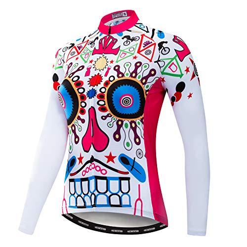 Weimostar Radfahren Langarm Jersey Frauen Mountainbike Jersey Shirts Lange Rennrad Kleidung MTB Tops Sportbekleidung Rosa Größe M