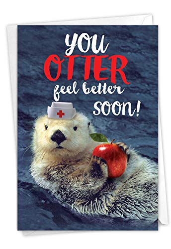 NobleWorks - Funny Get Well Greeting Card - Hilarious Feel Better Notecard with Envelope - Otterly Awesome C6574DGWG