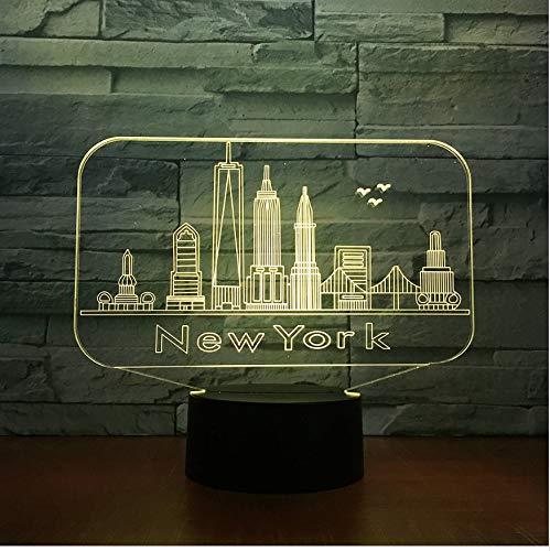 3D Veilleuses New York City Bâtiment 3D Nuit Lumière Coloré Led Atmosphère Chambre Lampe De Table Belle 7 Changement De Couleur 3D Usb Led Nuit Lumière