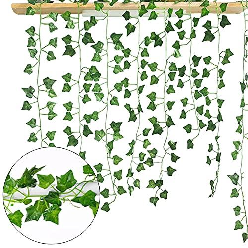 12 Pezzi Edera Finta Piante Artificiali Rampicante Ghirlanda Pianta Artificiale Pianta Finta da Interno e Esterno Decorazione della Parete di Giardino