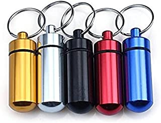 6PCS Waterproof Outdoor Camping Travel Traveling Portable Aluminum Pill Box Case Bottle Storage Holder Container Keychain Pill Holder Emergency Aspirin Dispenser Color Random