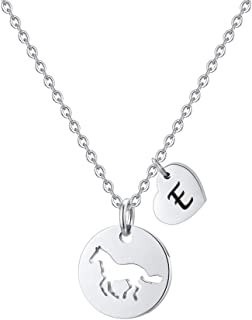 MONOOC Horse Necklace for Girls, Horse Charm Necklace Stainless Steel Heart Initial Necklace Horse Gifts for Girls, Horse Jewelry Girls Horse Necklace 26 Initial Letter Necklace for Girl