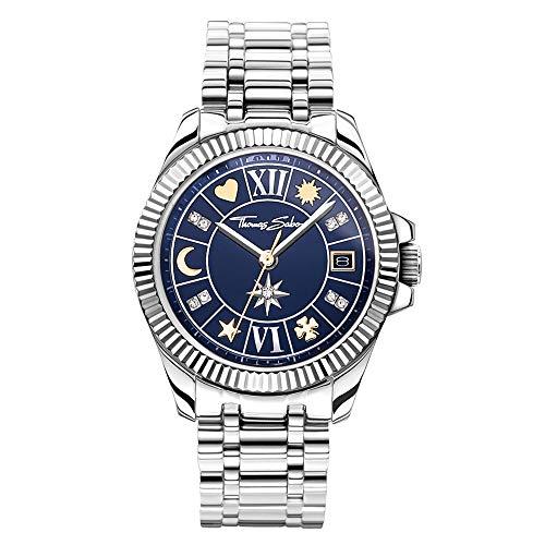 THOMAS SABO Damen Analog Quarz Uhr mit Edelstahl Armband WA0354-201-209-33 mm