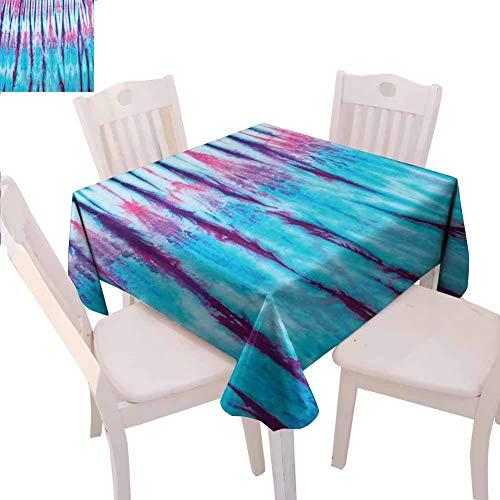 Tie Dye Decor Mantel cuadrado para fiesta de primer plano vertical degradado Tie Dye Figuras Hippie Alter Life Retro Obra de arte Uso diario, 137 x 137 cm, color azul y rosa