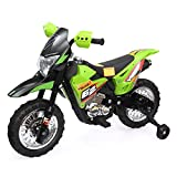 Kids Ride On Motorcycle with Auxiliary Wheel Dirt Bike 6V Battery Powered Electric Toy Green