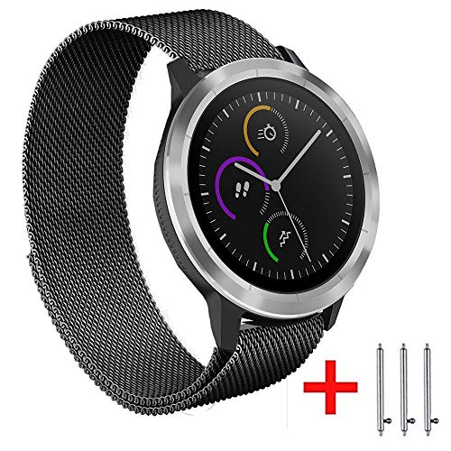 20mm vervangende riem compatibel voor Samsung Galaxy Watch 2 42mm Amazfit Bip Ticwatch2/E/S en andere 20mm 22mm Smart Watch roestvrij staal gaas met sterke magnetische armband band voor vrouwen mannen, 20mm, Zwart1