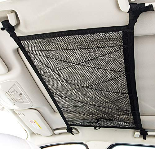 """Kaskawise Car Ceiling Cargo Net Pocket, 31""""x21"""" Adjustable Double-Layer Mesh SUV Roof Organizer Long Trip Storage Bag,Tent Putting Quilt Children's Toy Towel Sundries Interior Accessories"""