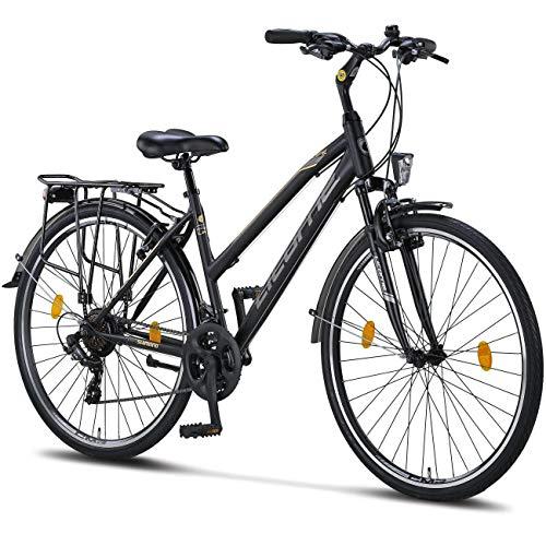 Licorne Bike Premium TrekkingBike in 28 Zoll - Fahrrad für Herren, Jungen, Mädchen und Damen - Shimano 21 Gang-Schaltung - Citybike - Männerfahrrad - L-V-ATB - Schwarz/Grau