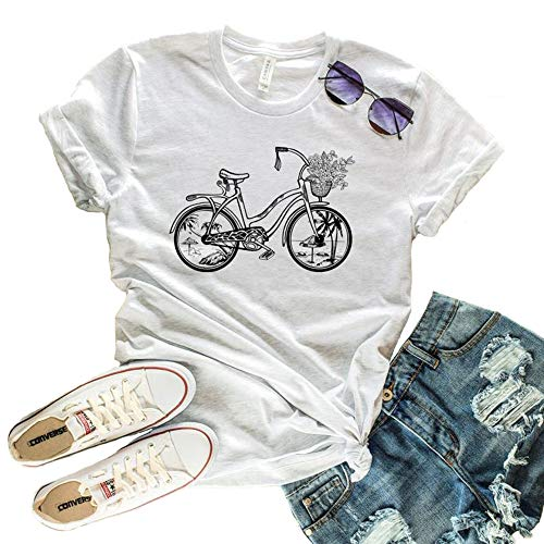 Beach Cruiser Bicycle Print T Shirt Venice Beach Vacation Vantage Tee O-Neck Short Sleeve Gift for Girl Graphic Tees M White