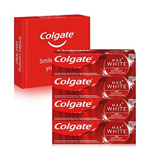 Colgate Max White One, Pasta de Dientes Blanqueante, 1 Tono Más Blancos en 1 Semana, Pack 4 Uds x 75ml
