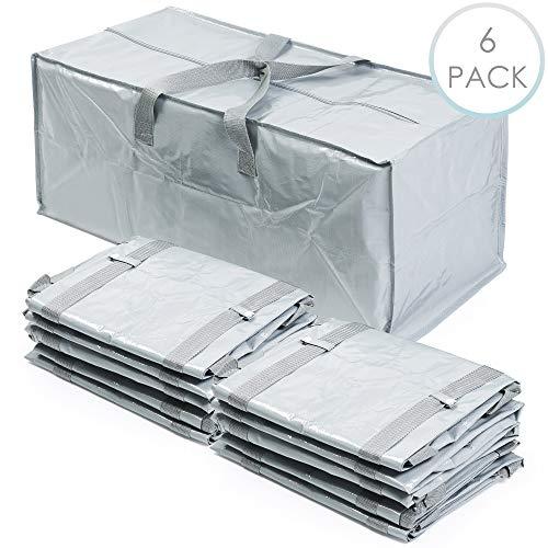 6 Pack grote Heavy Duty opbergtassen, 76x37x33cm (100 liter) - inklapbaar, dubbele draaggreep & riemen - Premium Strength Laundry Moving Underbed opbergtas - voor opslag & transport grote artikelen.