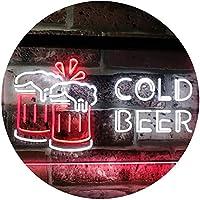 Cold Beer Bar Pub Club Décor Dual Color LED看板 ネオンプレート サイン 標識 白色 + 赤色 600 x 400mm st6s64-i2069-wr