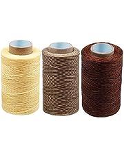RMTIME 蝋引き糸 ロウ引き糸 ワックスコード 手縫い 編み 手芸 紐 DIY レザークラフト 糸 ろう引き糸 よく使うカラー3個セット 1mm直径 長さ250m 紐 糸 革 レザークラフト ライトナチュラル 初心者