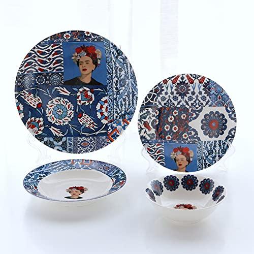 Vajilla de cerámica, plato para cenar de postre, 8/8/10 pulgadas, 4uds,Azul