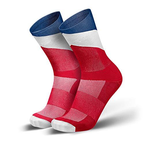 INCYLENCE Arrows Laufsocken lang, leichte Kompressionssocken, atmungsaktive Sportsocken mit Anti-Blasen Schutz, Marathon Socken, rot-weiß-blau, 43-46