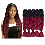LOSMOEER Kanekalon Jumbo Braiding Hair Extensions Ombre Burgundy High Temperature Synthetic Fiber for Twist Crochet Braids(24Inch, 5 Pcs/Lot)