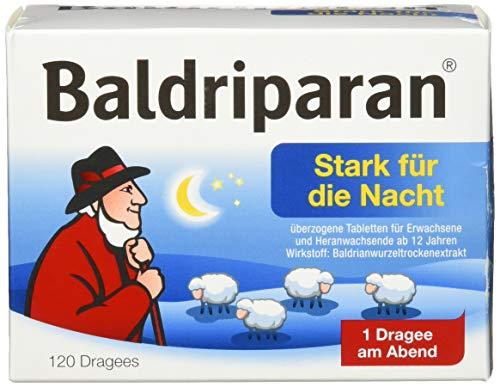 Baldriparan Stark für die Nacht – Pflanzliches Arzneimittel mit hochdosiertem Baldrianwurzel-Trockenextrakt – Bewährte Dragees bei nervös bedingten Schlafstörungen – 120 Dragees