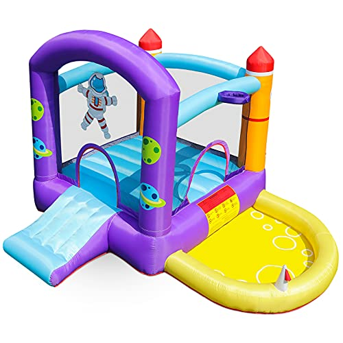 Stoog Kids Bounce House with Blower, Jump Slide Inflatable Bouncer with Basketball Hoop, Ball Pit,...
