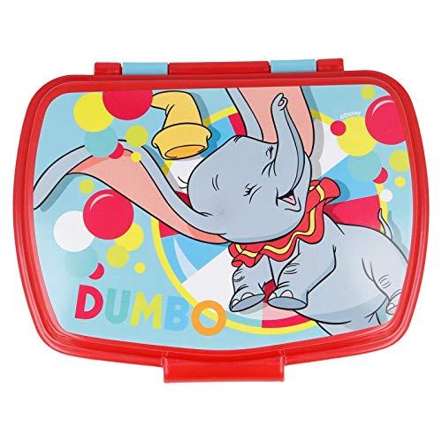 ALMACENESADAN 2636; Sandwichera Rectangular Multicolor Disney Dumbo; Producto de plástico, Libre BPA; Dimensiones Interiores 16,5x11,5x5,5 cm