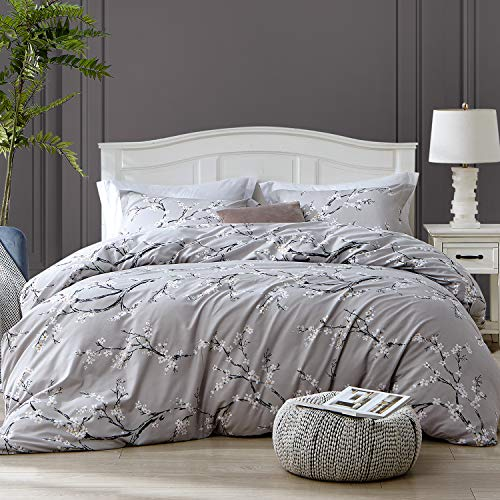 Hansleep Bedding Duvet Cover Set King Size 230 x 220cm Grey- 3PCS White Plum Ultra Soft Brushed Microfibre Hypoallergenic Quilt Covers with 2 Pillowcases - Fade Resistant