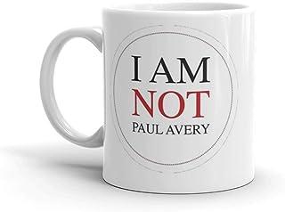 星座キラー:I Am Not Paul Avery。 11オンス 上質セラミックマグ 完璧な光沢仕上げ 光沢セラミックマグカップ 11オンス コーヒー愛好家へのギフト