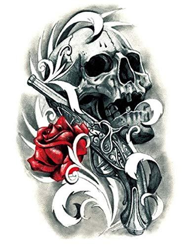 EROSPA® Tattoo-Bogen temporär/Sticker - Schädel Rose Pistole Totenkopf - Wasserfest - 15 x 21 cm