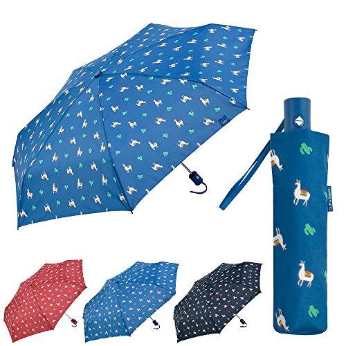 Bisetti - Clima Paraguas Plegable Automático | Paraguas Antiviento Pequeño y Compacto Ideal para Viajes, Hombre y Mujer, Azul Claro