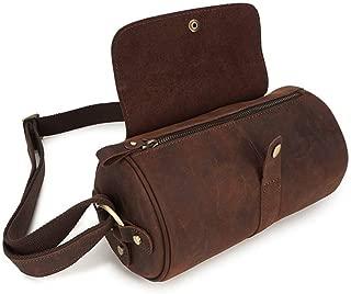 AMAZACER Men's Genuine Leather Shoulder Bag, Vintage Messenger Bag Handmade Crossbody Leather Bag for School Working Travel (Color : Dark Brown)