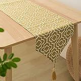 ジャガード織り テーブルランナー 食卓飾り 布 テーブルクロス おしゃれ テーブル小物 タッセル (31 x 160cm, イエロー)