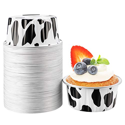 Foil Cups for Baking, Beasea 5 oz 50 Pack 3 Inch Muffin Liners Cups Disposable Ramekins Black White Aluminum Foil Cups Mini Creme Brulee Muffin Cupcake Baking Pudding Cups for Party Wedding Birthday