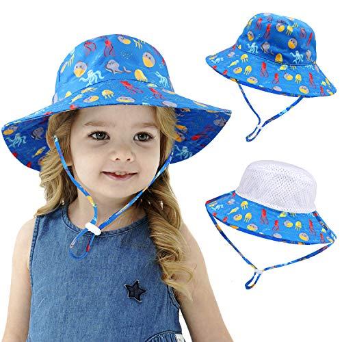 AYPOW 100% Baumwolle Fischerhut Kinder Sonnenhut, Faltbare UPF50 Summer Beach Sonnenkappe mit verstellbarem Kinnriemen, Alter 1-6 Baby Jungen Mädchen Kinder