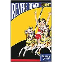 ヴィンテージビーチサーフィン旅行ポスターレビアビーチクラシックキャンバス絵画壁ポスター家の装飾ギフト-50x75cmx1フレームなし