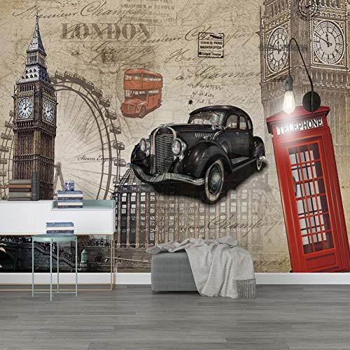 Papel pintado Mural personalizado de cualquier tamaño Edificio de torre 3D Coche clásico Retro nostálgico Europeo KTV Bar Café Dormitorio Fondo Fresco