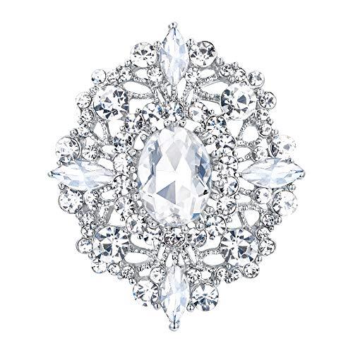 EVER FAITH Damen Brosche Österreichischen Kristall Hochzeit Retro Aushöhlen Floral Filigrane Kleid Kleidung Dekorative Pin Klar Silber-Ton