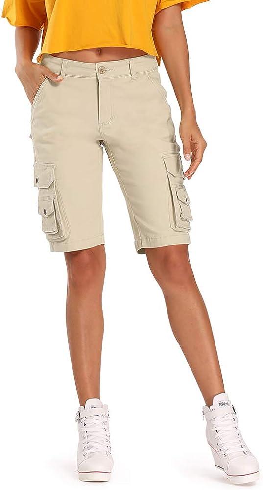 OCHENTA Bermuda Cargo Shorts for Women, Casual Cotton Multi Pockets Outdoor Wear