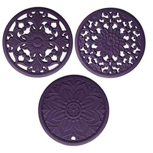 chengbaohuqu Salvamanteles Mat Posavasos Pot Cojín De Cocina De Silicón Tallada para Purple Encimera Antideslizante Flexible 3pcs